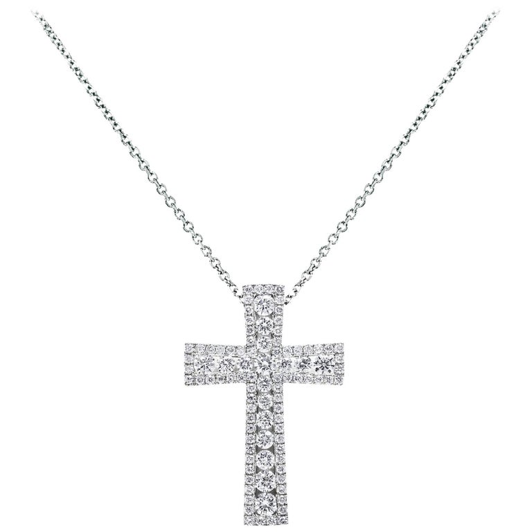 Round Cut Diamond Gold Byzantine Cross Pendant Necklace