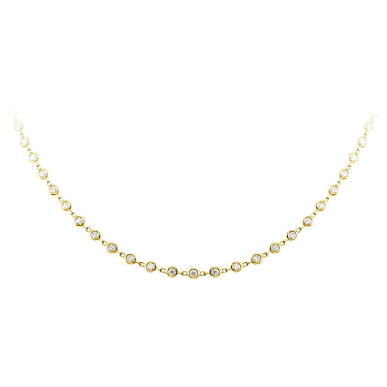 2.85 Carat Total Diamond by the Yard Gold Necklace