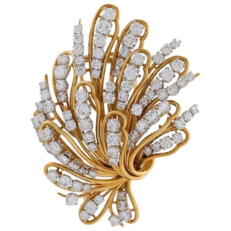 Bulgari 1960s Diamond and Gold Flower Brooch