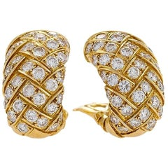 Van Cleef & Arpels 1970s Diamond and Gold Earrings