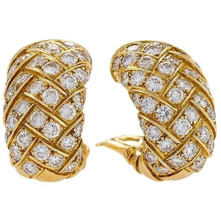 Van Cleef & Arpels 1970s Diamond and Gold Earrings