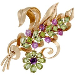 Raymond Yard Retro Peridot Pink Sapphire Amethyst and Gold Flower Brooch