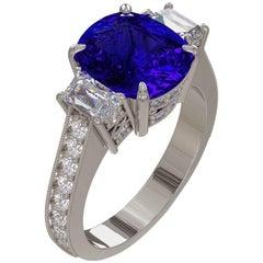 Emilio Jewelry 4.50 Carat Gem Quality Royal Blue Cushion Sapphire Diamond Ring