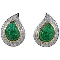 22.0 Carat Carved Mughal Emerald 3.0 Carat Diamond Rare Earrings