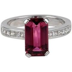 3.08 Carat Emerald Cut Pink Tourmaline Diamond Ring