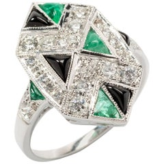Art Deco Diamond Emerald and Onyx Gold Ring