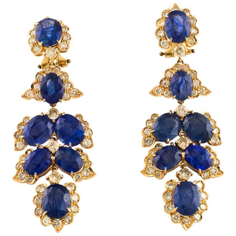 Diamonds Sapphires Rose Gold Dangle Earrings