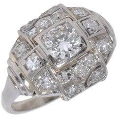 White Diamonds and White Gold Art Deco Engagement Ring