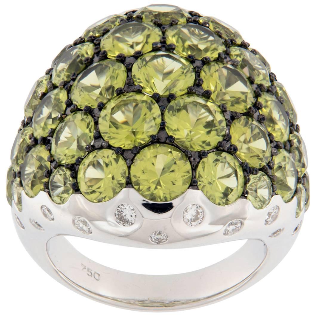 Peridot & Diamond Large Dome 18 Karat White Gold Ring