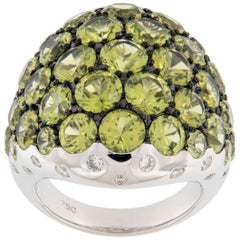 Peridot & Diamond Large Dome 18 Karat White Gold Ring
