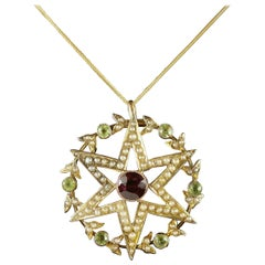 Antique Victorian 15 Carat Gold Suffragette Star Pendant and Chain, circa 1900