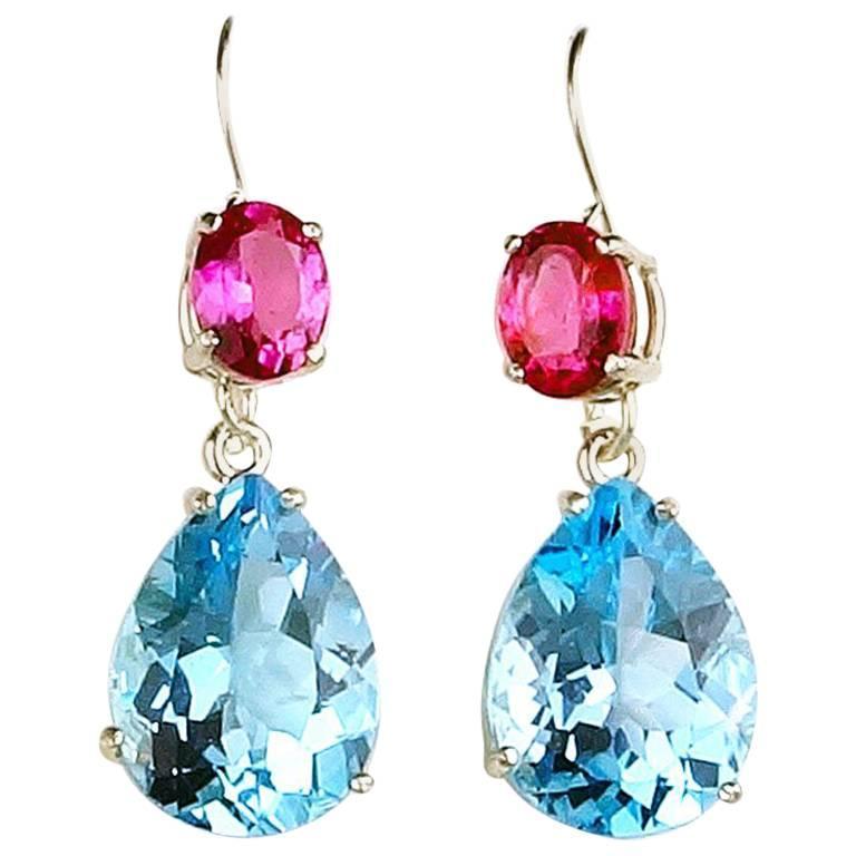 21.20 Carat Blue Topaz and Pink Tourmaline Sterling Silver Dangle Hook Earrings