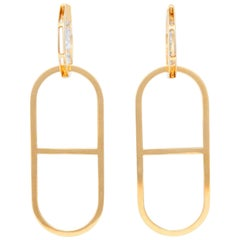 18 Karat Yellow Gold Link Hoop Earrings