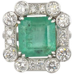 Baume  4.23 Carat Emerald Diamond White Gold Ring