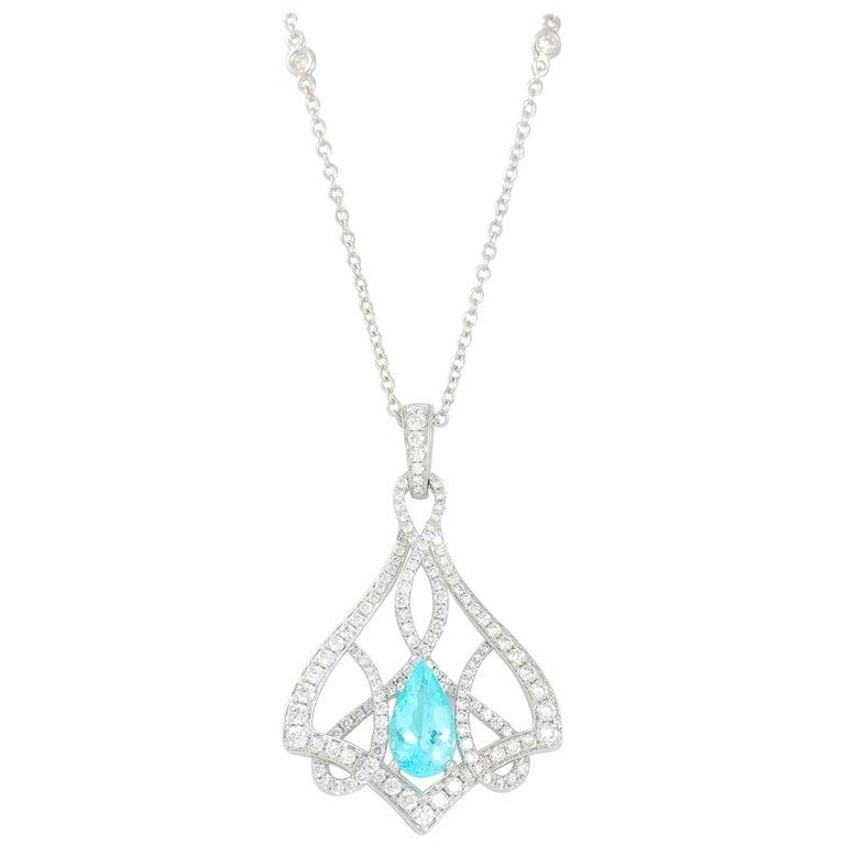 Frederic Sage 1.81 Carat Paraiba Tourmaline Diamond Necklace