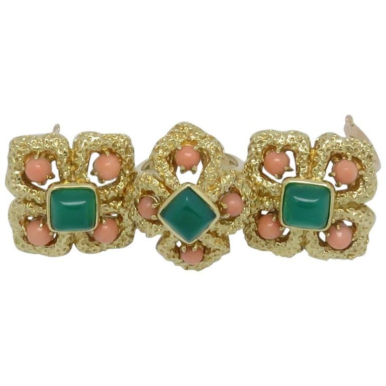 """Van Cleef & Arpels """"Delphe Collection"""" Coral Agate Gold Earrings and Ring Set"""