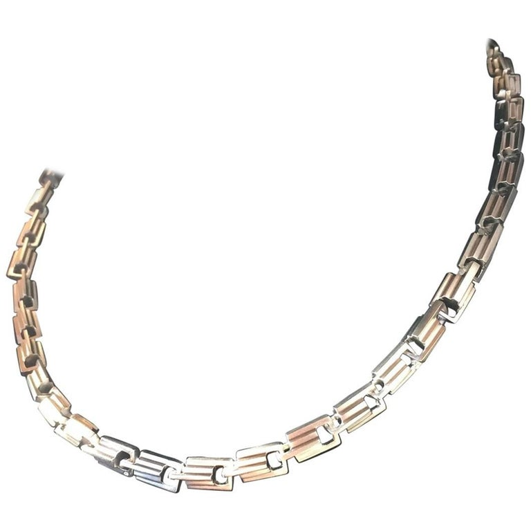 Emer Roberts Sterling Silver Architectural Art Deco Style Links Chain Necklace