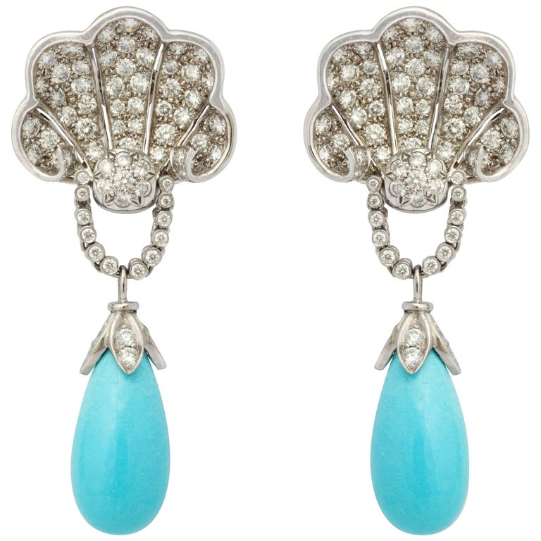 Turquoise and Diamond Clip-On Shell Earrings