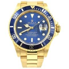 Rolex Submariner Oyster Watch 18k Yellow Gold 16618