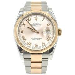 Rolex Rose Gold stainless steel Datejust Smooth Bezel Wristwatch Ref 116201