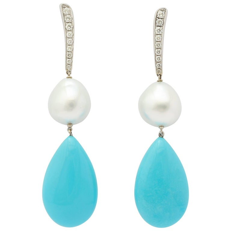 18 Karat White Gold Diamond, Pearl and Turquoise Drop Earrings
