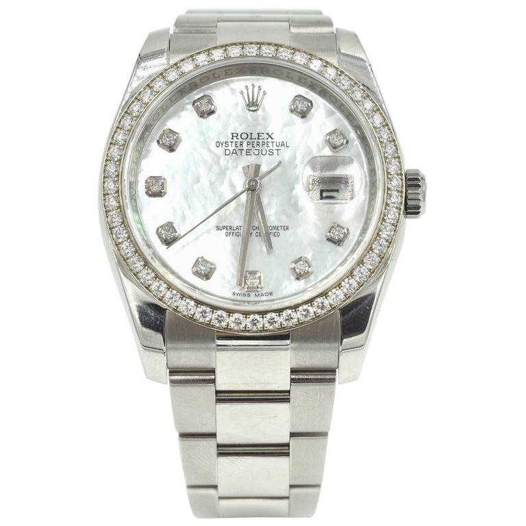 Rolex Datejust Factory Diamond Bezel and MOP Dial Stainless Steel Watch 116244