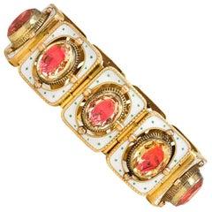 19th Century Gold, Enamel and Foiled Citrine Bracelet