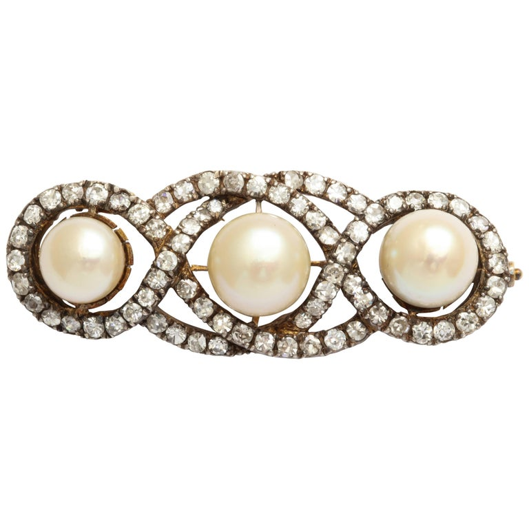 Antique Silver-Topped Gold Natural Pearl and Diamond Brooch