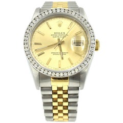 Rolex White Gold stainless steel Datejust Jubilee Diamond Bezel Wristwatch