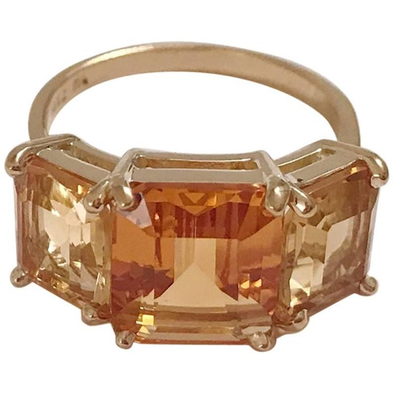 18 Karat Yellow Gold Mini Emerald Cut Ring with Two-Toned Citrine For Sale