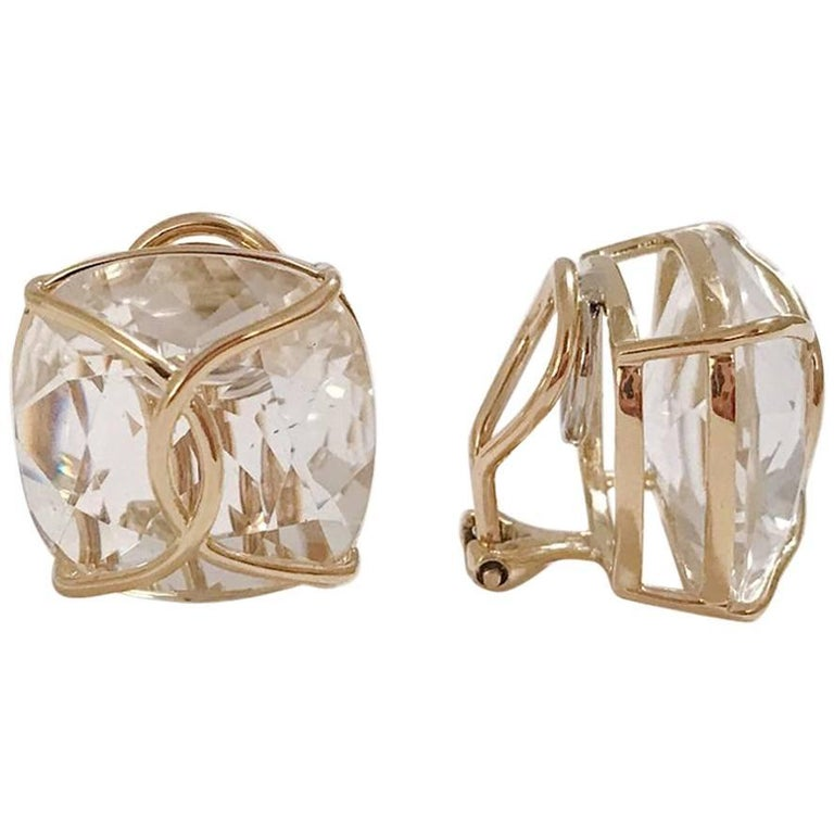 Jumbo Rock Crystal Cushion Stud Earring with Yellow Gold Wire Wrap
