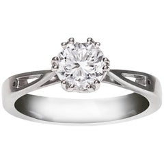 GIA Certified 1.12 Carat Round Cut Diamond Gold Solitaire Engagement Ring