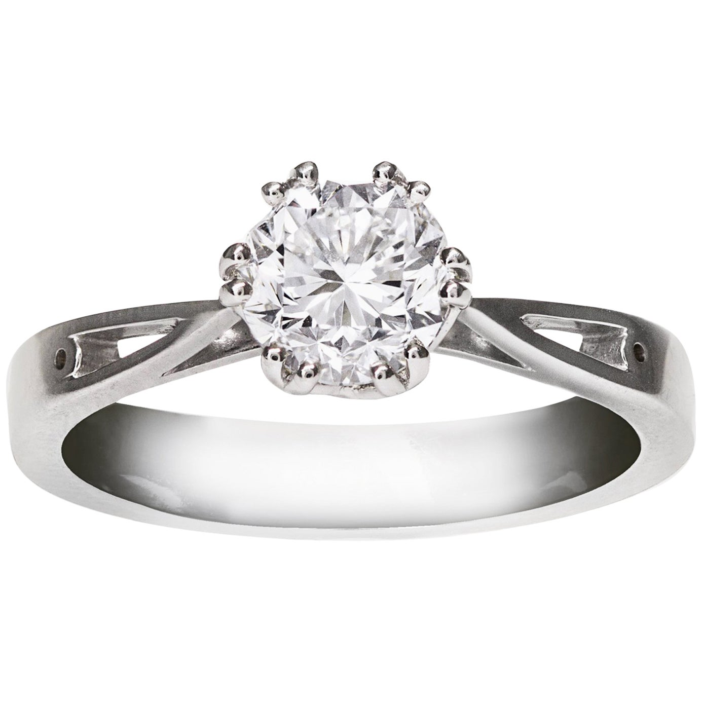 GIA Certified 1.12 Carat Round Cut Diamond Solitaire Engagement Ring
