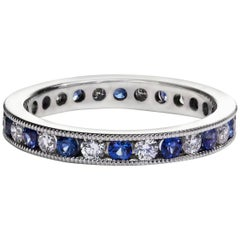 Roman Malakov Alternating Blue Sapphire and Diamond Gold Wedding Band