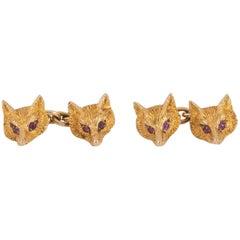 Cufflinks, 9 Carat Gold Fox Heads, Ruby Eyes, Birmingham, 1931