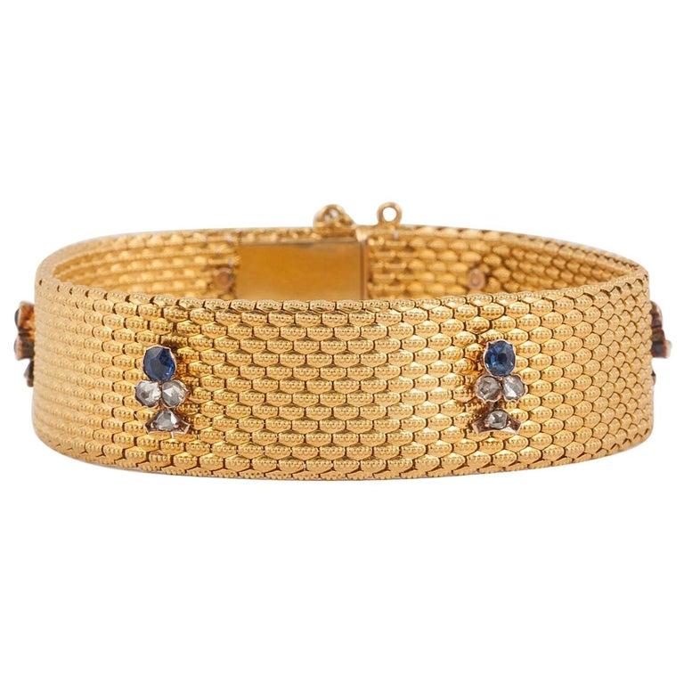 Bracelet, 18 Carat Gold, Sapphire Diamond Motifs, Original Case, 19th Century