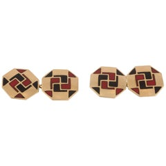 Cufflinks Art Deco, 19th Century 18 Carat Gold and Enamel, French, circa 1930