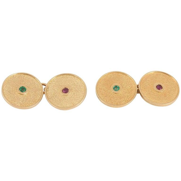 Cufflinks, Cartier 18 Carat Gold, Emerald, Ruby, Textured Design Cartier Case