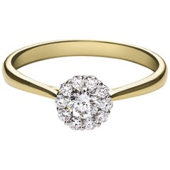 Round Cut Diamond Gold Cluster Engagement Ring