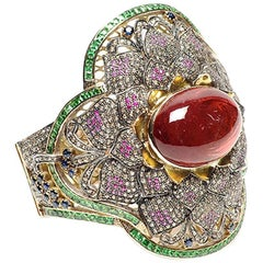 Lotus Bangle with Tourmaline and Diamonds