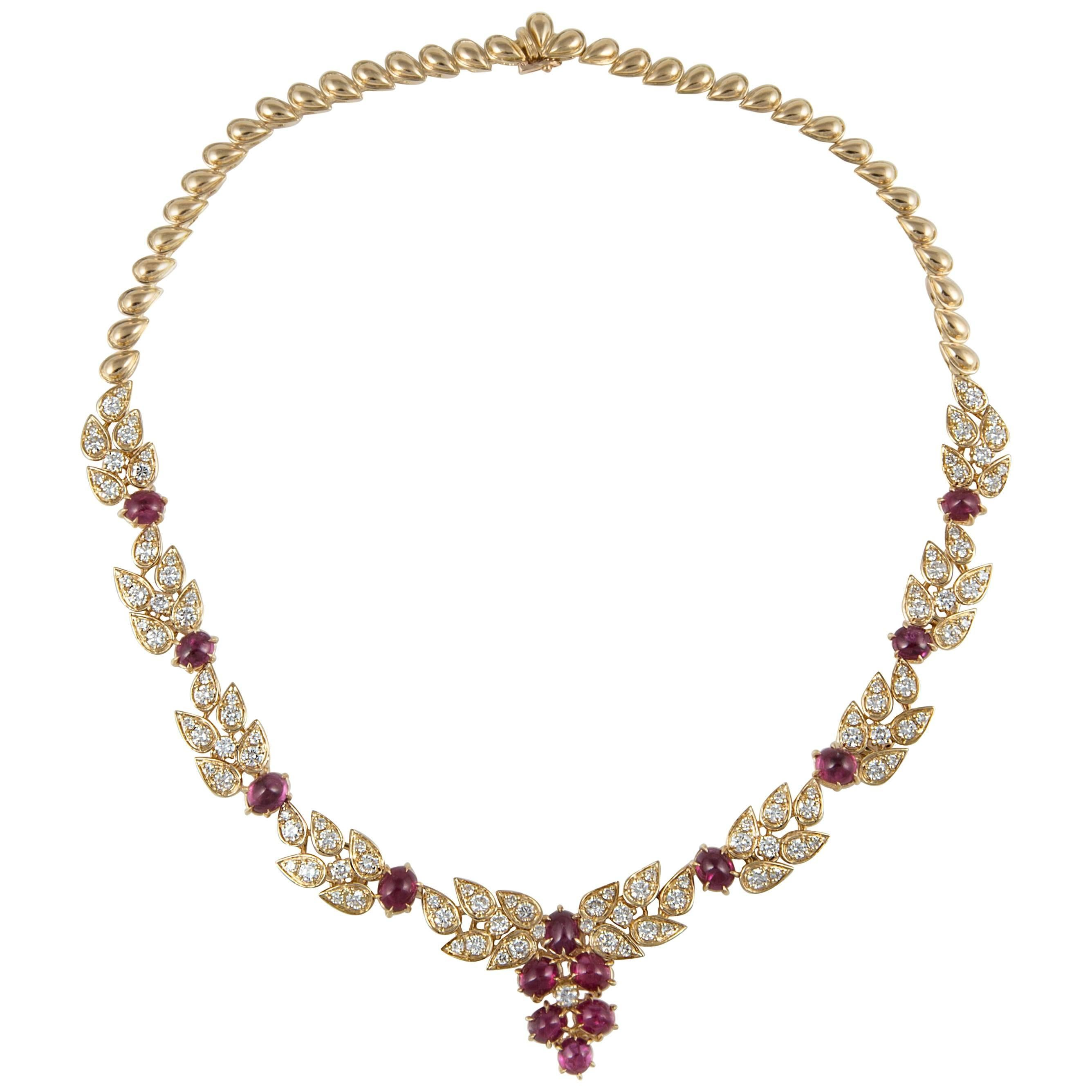 Adler Ruby and Diamond Necklace in 18K Yellow Gold