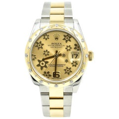 Rolex Yellow Gold Stainless Steel Diamond Bezel Datejust Automatic Wristwatch