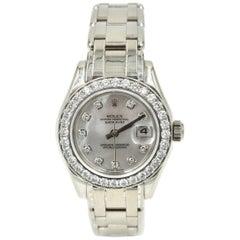 Rolex Ladies White Gold Diamond Masterpiece Automatic Wristwatch Ref 80299