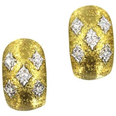 Textured Diamond 18 Karat Yellow Gold Earrings
