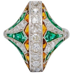 Emerald Cetrine Diamond  Art Deco Egyptian Revival Ring