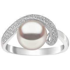 Yoko London Freshwater Pearl Ring in White Gold with White Diamonds