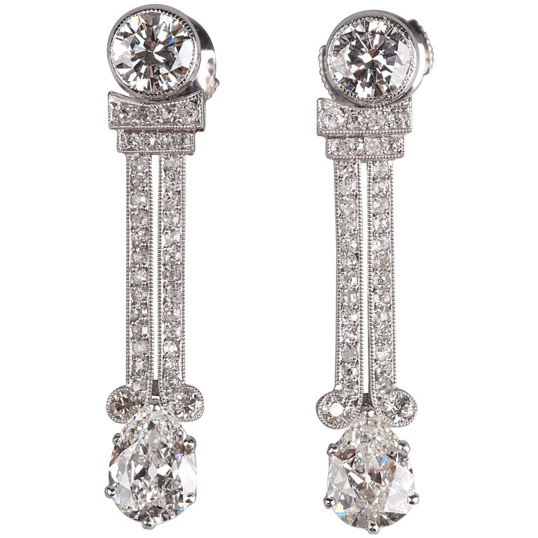 art deco diamonds earrings for sale at 1stdibs. Black Bedroom Furniture Sets. Home Design Ideas
