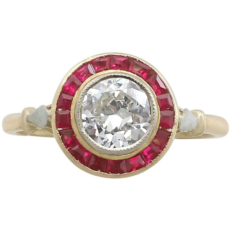 1920s French 1.10 Carat Diamond and Ruby 18 Karat Yellow Gold Dress Ring