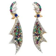 Dangle Earrings with ct 1,76 Diamonds, Emeralds,ct 6,58 Sapphires and Rubies