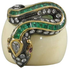 Lotus Arts De Vivre Rose Cut Diamond Emerald Ruby Bone Snake Statement Ring